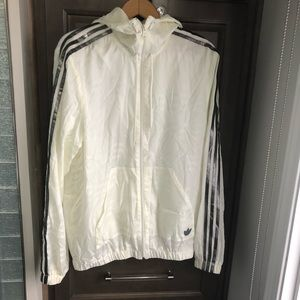 Men's Adidas Windbreaker Cream Hoodie M